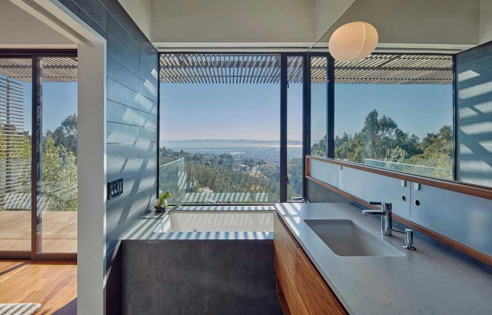 Modern bathroom design with views