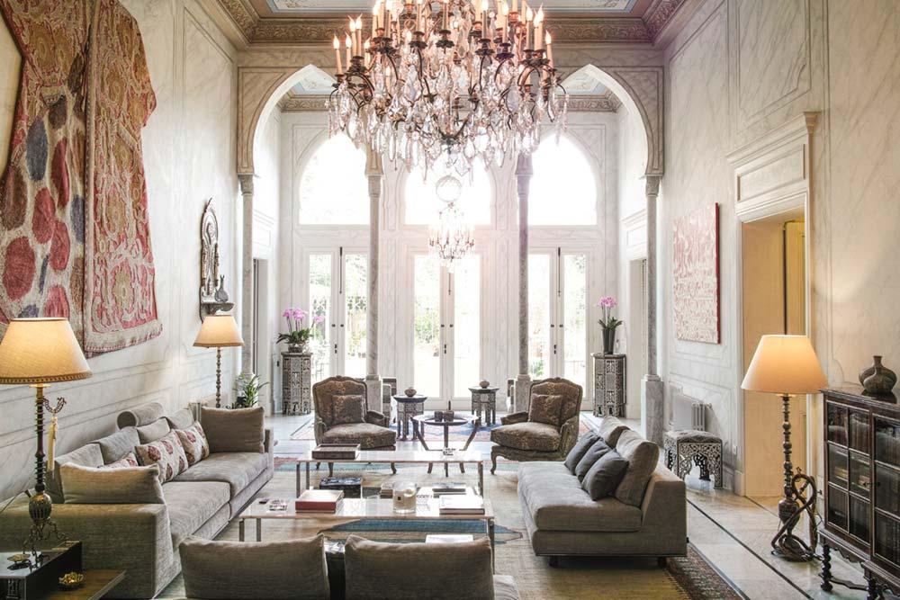 oriental villa living room design - Villa Assouad