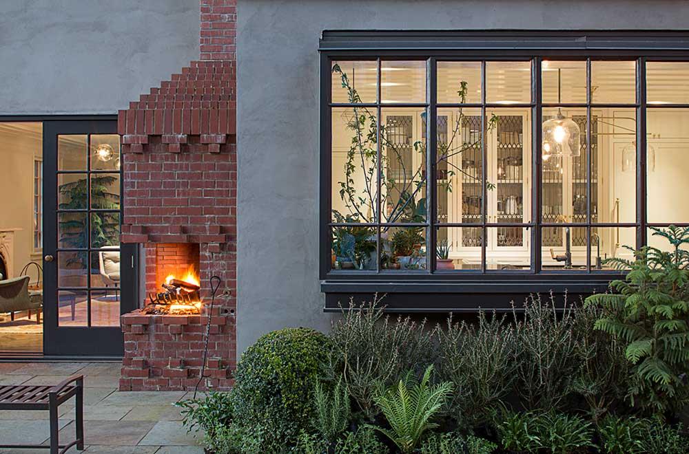 Outdoor brick fireplace design