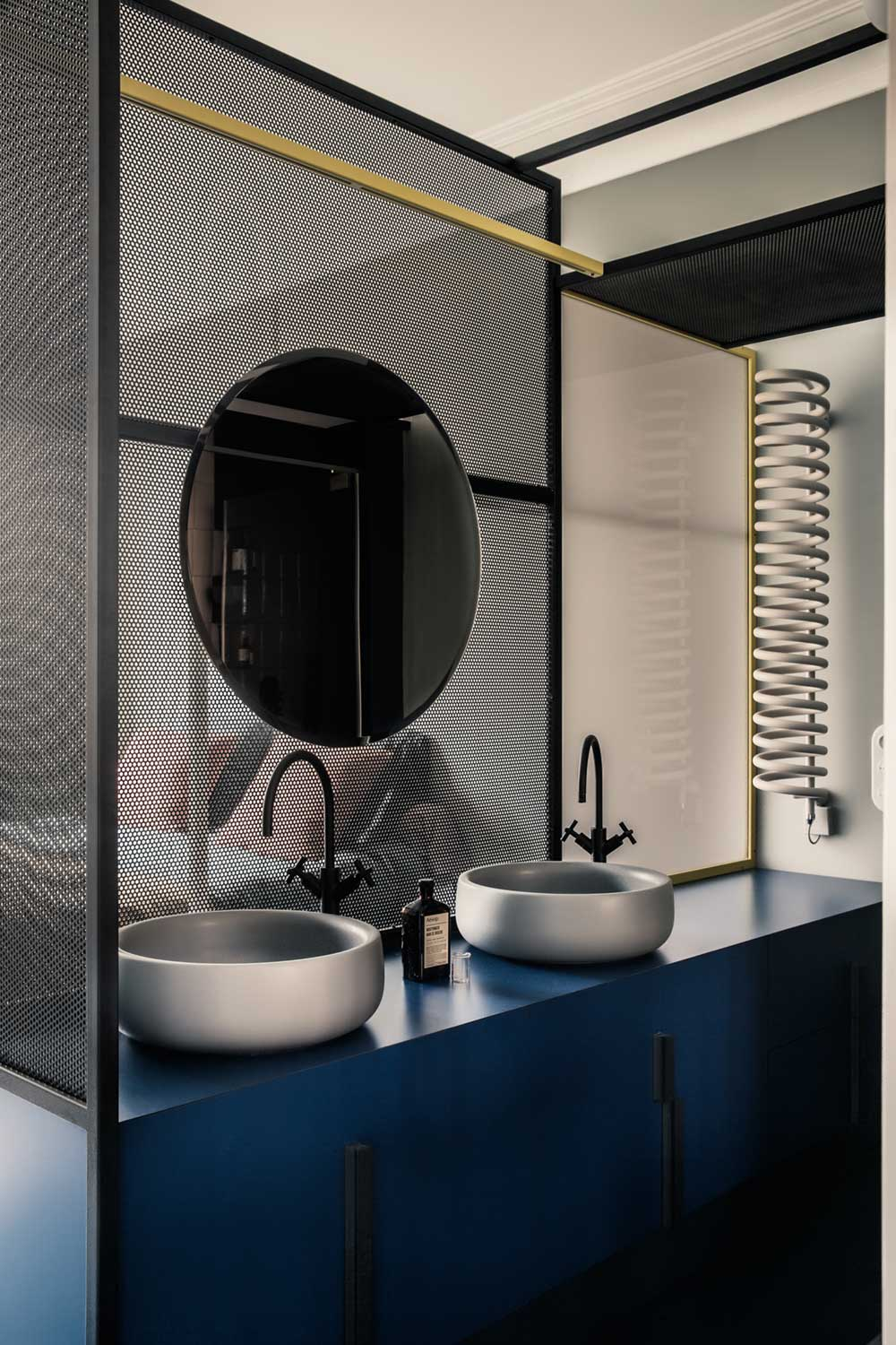 Blue Bathroom Cabinet and Silver Sink