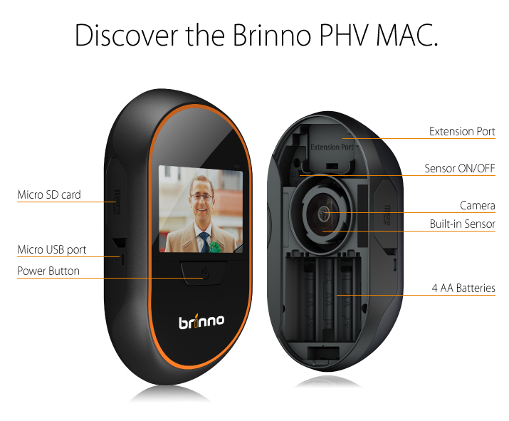 Brinno peephole viewer seeing security misc gadgets for Spioncino digitale con sensore di movimento