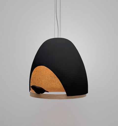 lampe oiseau light in a nest lighting. Black Bedroom Furniture Sets. Home Design Ideas