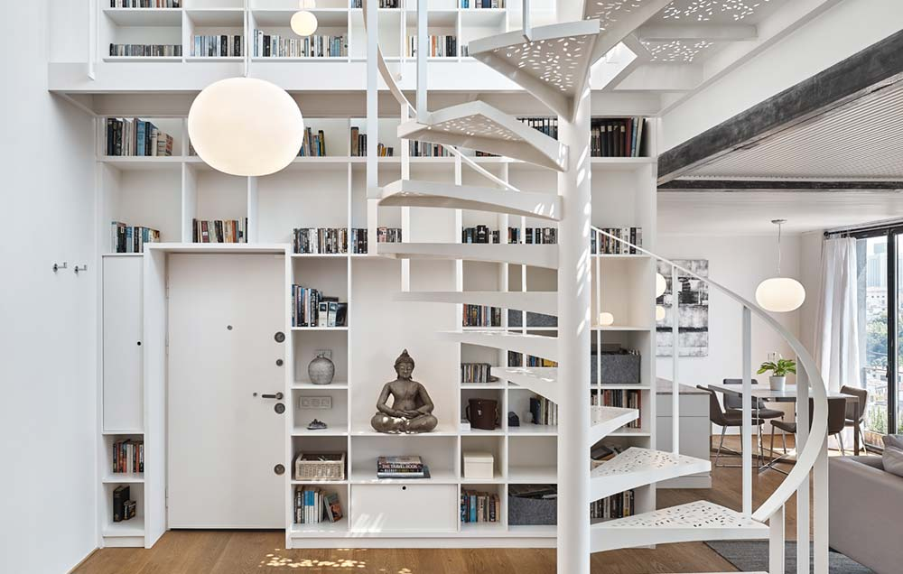 White Metal Staircase Library