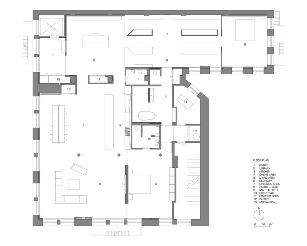 photographer loft design plan - NYC Photographer's Loft