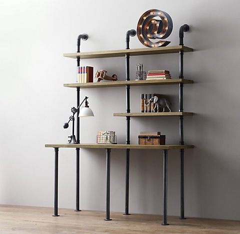 Industrial Pipe Desk And Shelving Stylishly Industrious