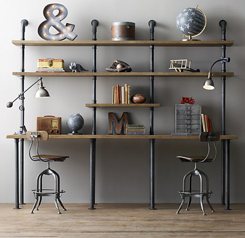Desk With Shelving Industrial Pipe Desk And Shelving Stylishly Industrious  Furniture