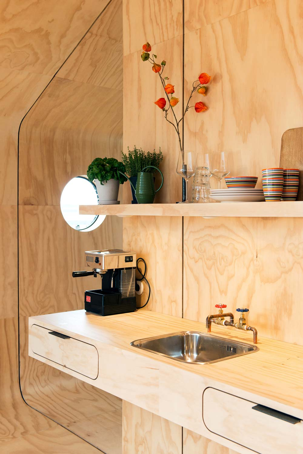 Small prefab cabin kitchen
