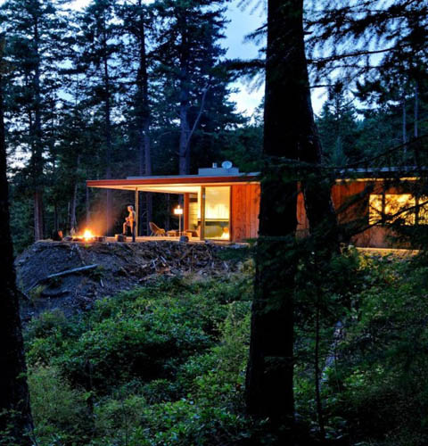 Two Hillside Cabins In The Trees By Feldman Architecture: Eagle Ridge: Recycled Wood And Rusty Steel Prefab Home