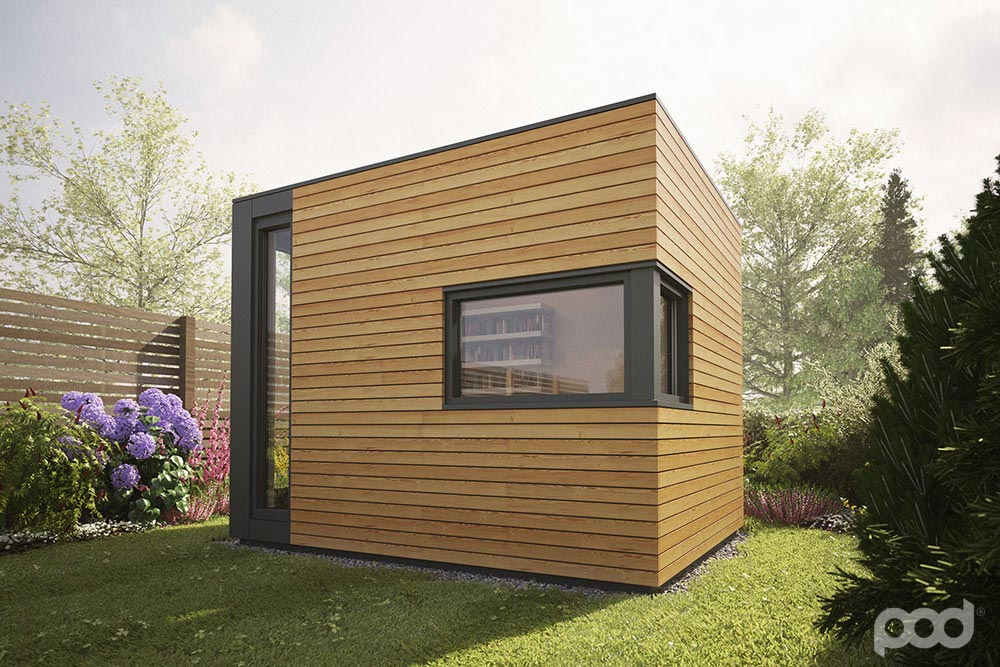 Pod space garden prefab getaways prefab cabins for Garden office space