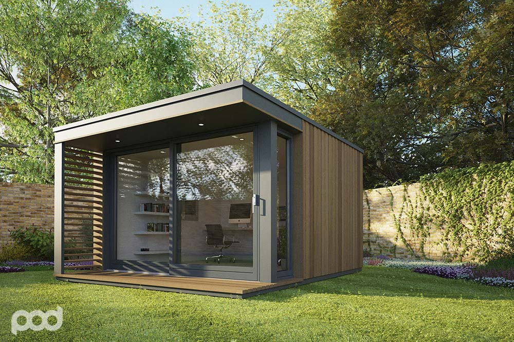 Pod space garden prefab getaways prefab cabins for Outdoor office building