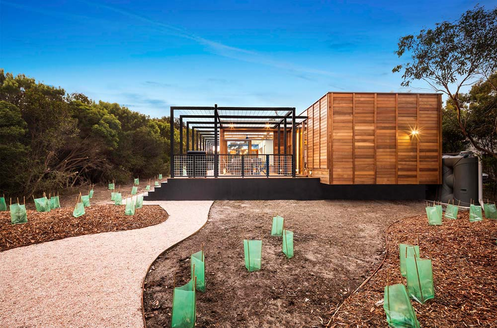 Wood clad prefab beach house