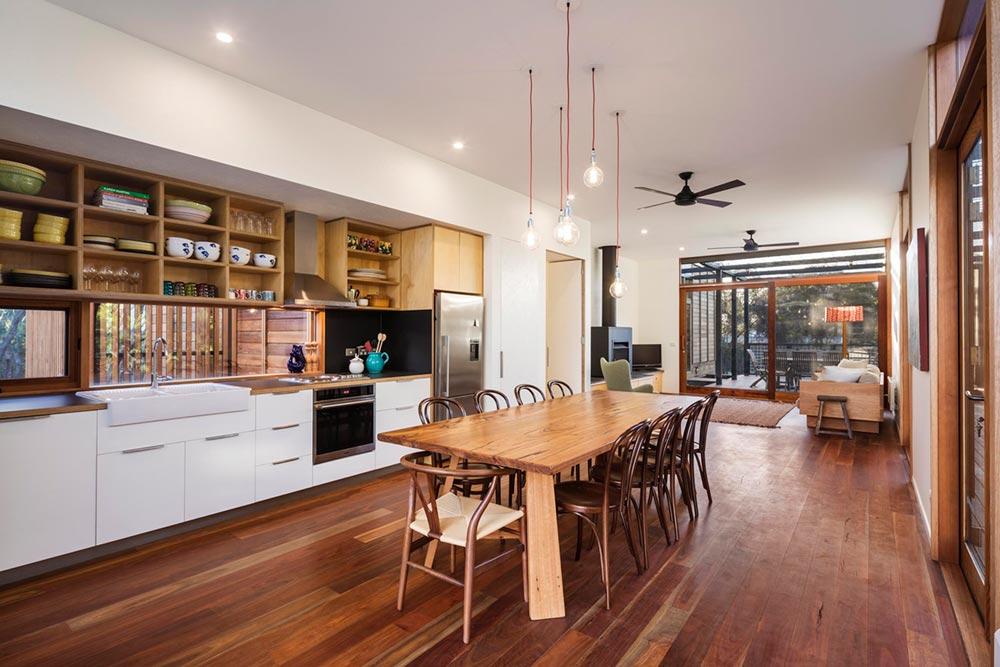 Prefab home kitchen with hardwood floors