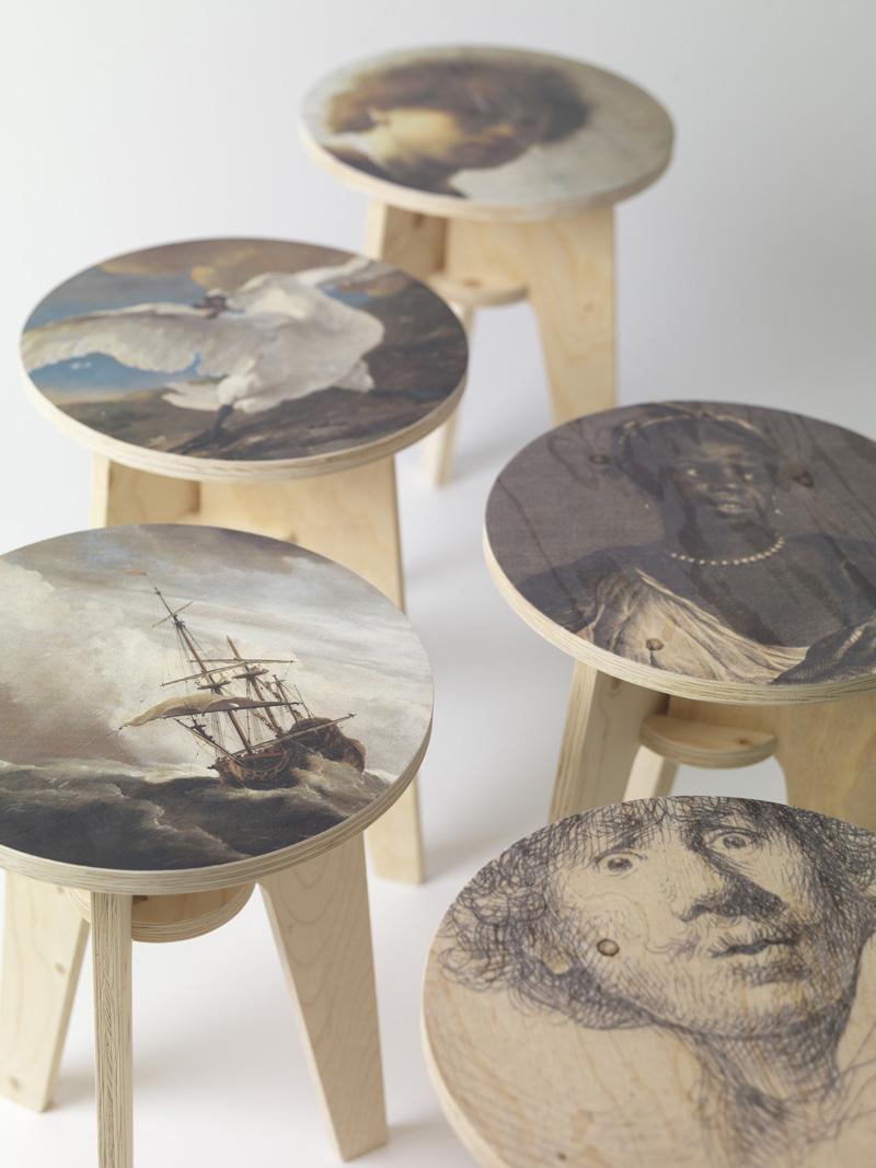 print stool phe - Plywood Print Stool