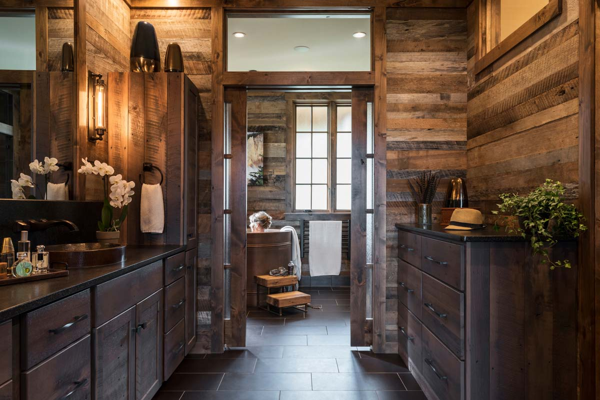 rustic mountain home design bathroom - East Tennessee Residence