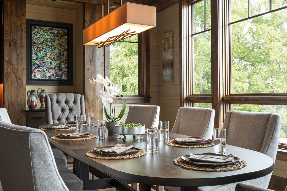 rustic mountain home design dining - East Tennessee Residence