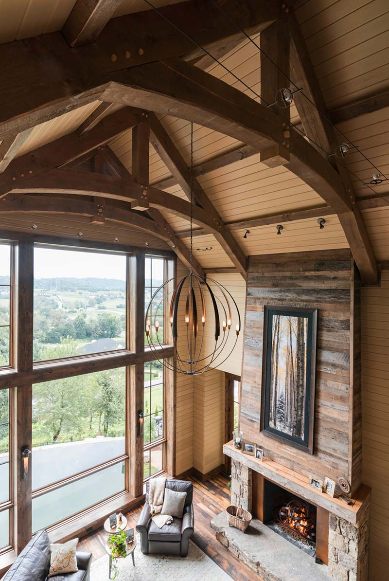 rustic mountain home vaulted great room 2 - East Tennessee Residence