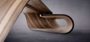 Sculptural Table Design In Canaletto Walnut Wood