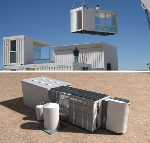 Shipping container home studio desert green prefab homes shipping container homes - Container home kit ...