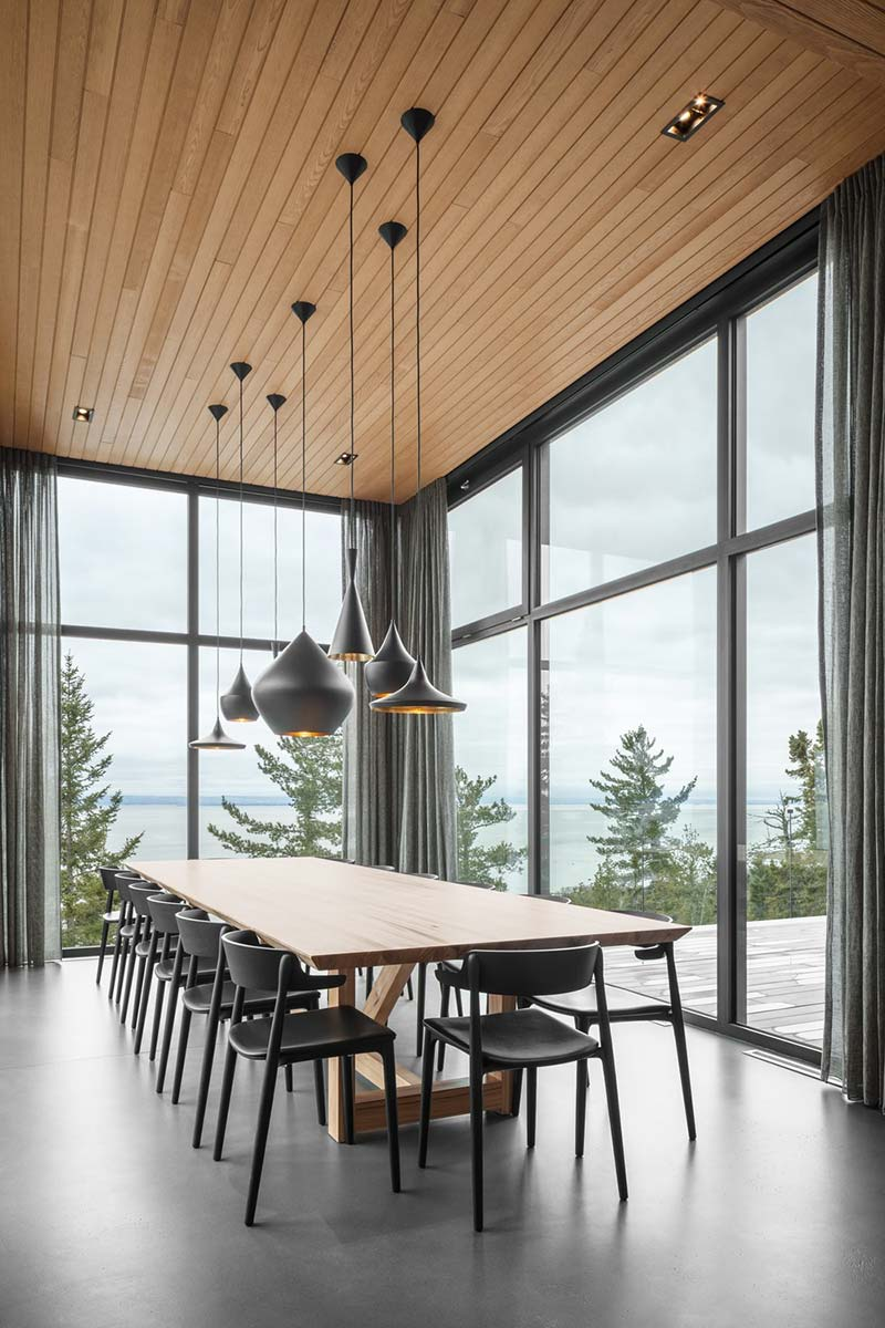 slope house dining room design - Long Horizontals