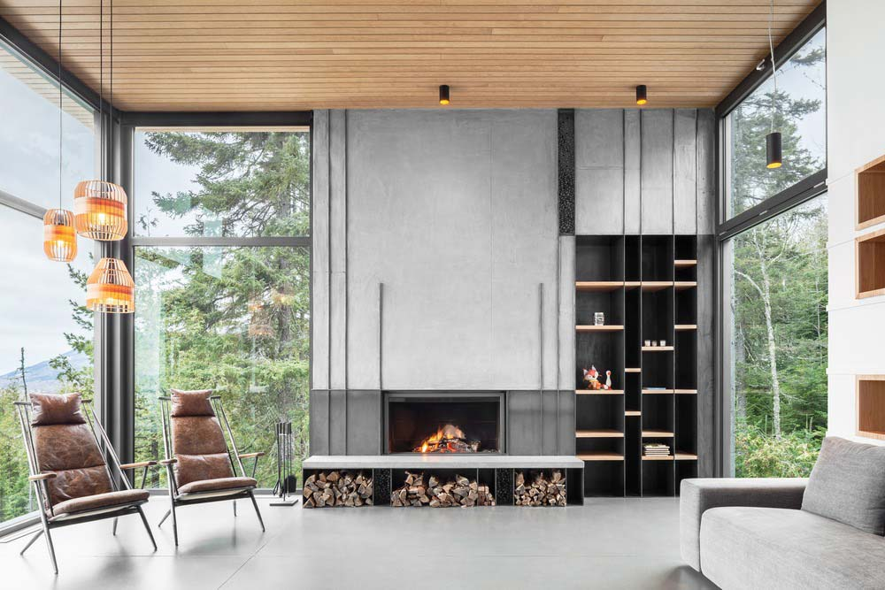 slope house fireplace design - Long Horizontals