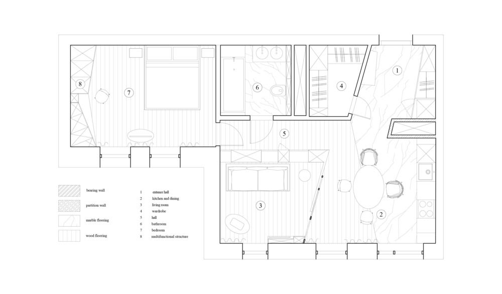 small apartment design plan md - Small Apartment in Moscow