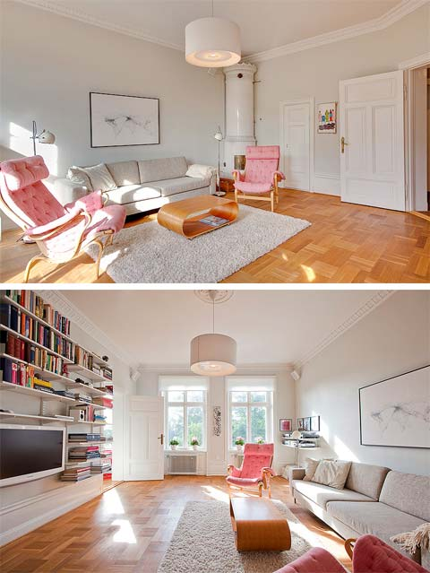 Small Flat Living Room Interior Design: Top Floor Apartment: 19th Century Small