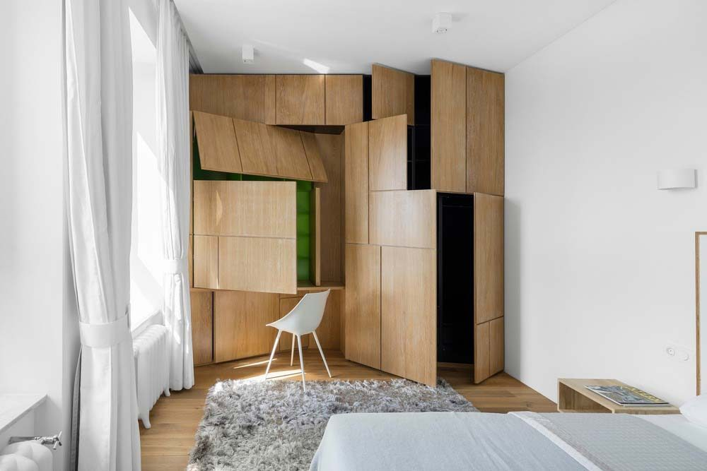 small apartment storage design md 1000x667 - Small Apartment in Moscow