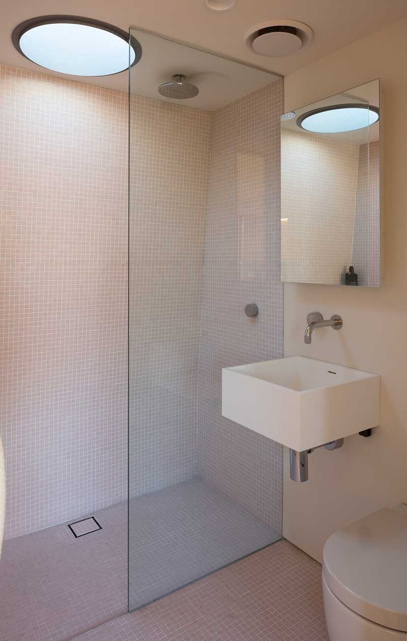 small house design bathroom pm - Laneway Studio