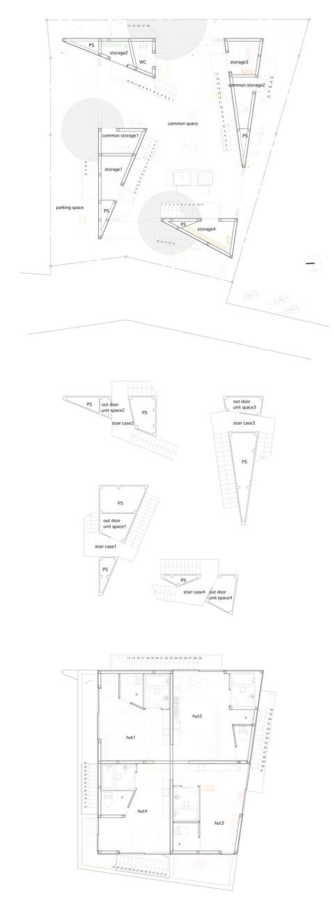 small house plan yokohama - Yokohama Apartment: 4 Triangles as a New Outdoor Space Concept