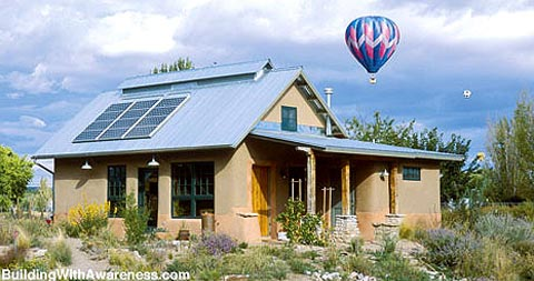 Straw bale hybrid home earth homes small houses for Straw bale house cost per square foot