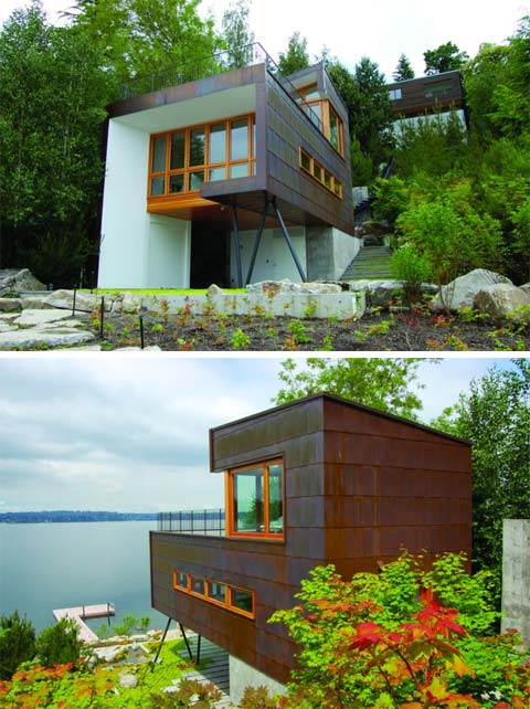 Small lake house cladded in copper coastal homes small for Building a small lake