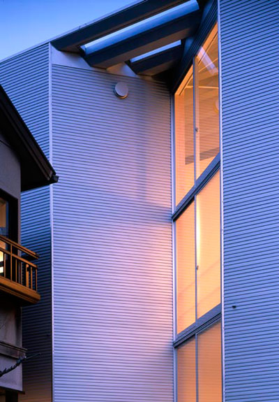 small narrow house w 8 - W Window House: a shimmering steel tower