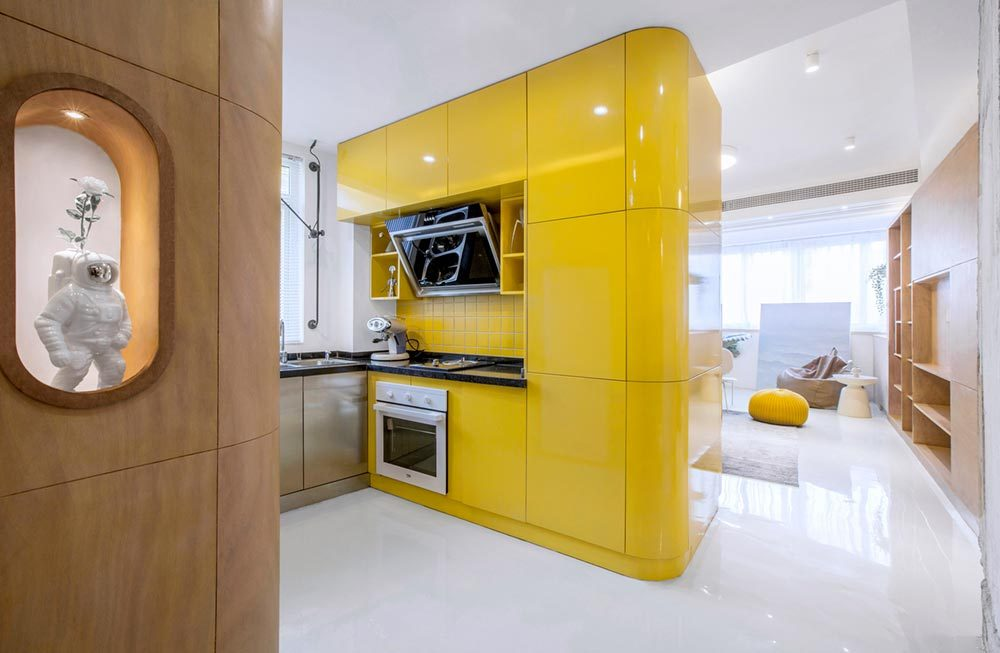 small space apartment design yellow kitchen td 1000x653 - 10° home