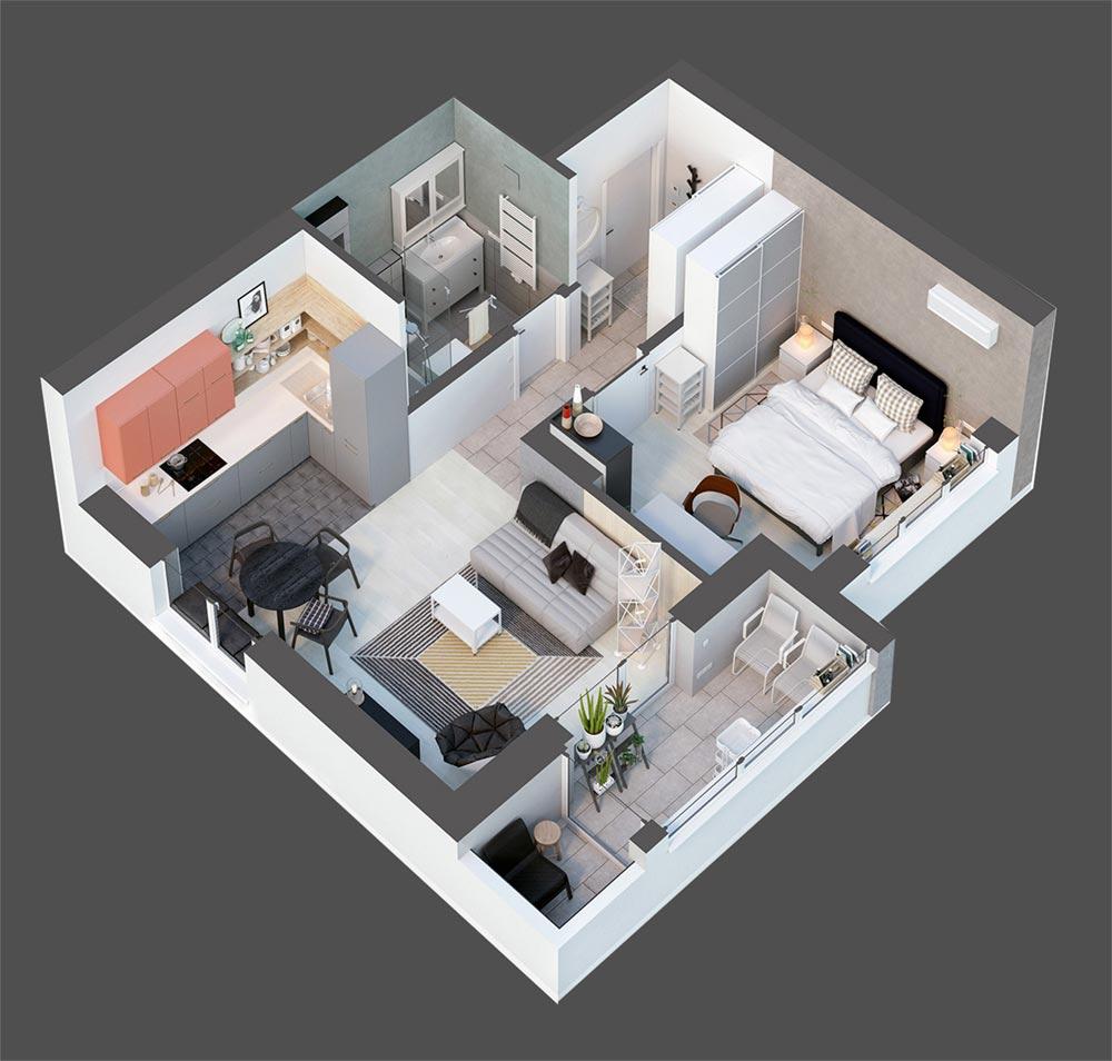 Дизайн квартиры студии 56 кв.м