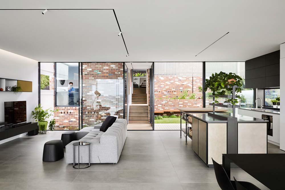 steep lot house design living - Greenacres