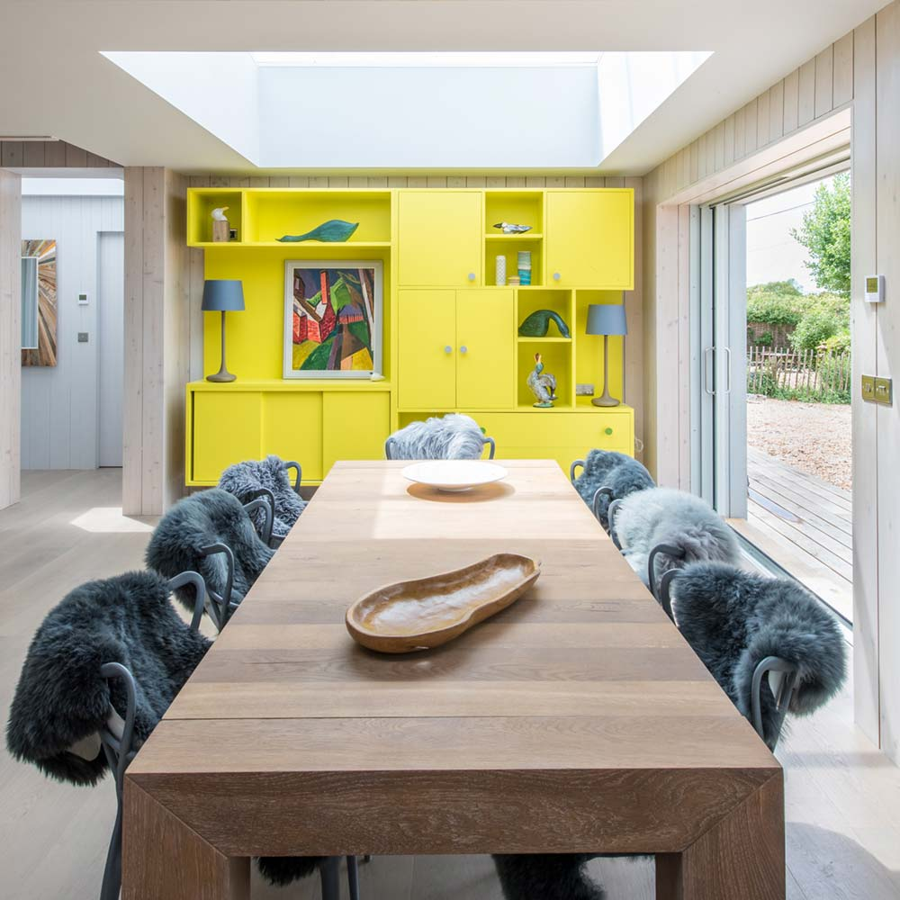 sustainable home dining room - Chalfont Beach House