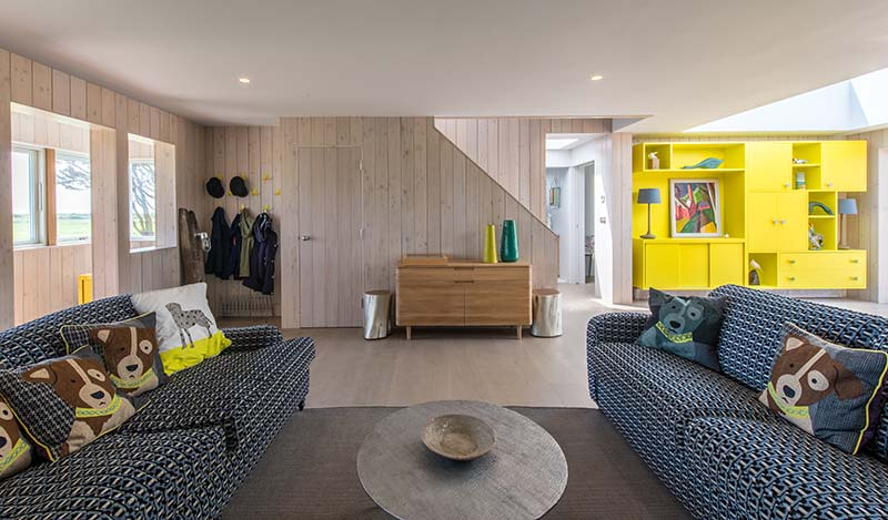 sustainable home living room - Chalfont Beach House