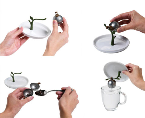 tea infuser saucer arta 5 - Arta Tea Infuser + Saucer: hang that old tea bag to dry