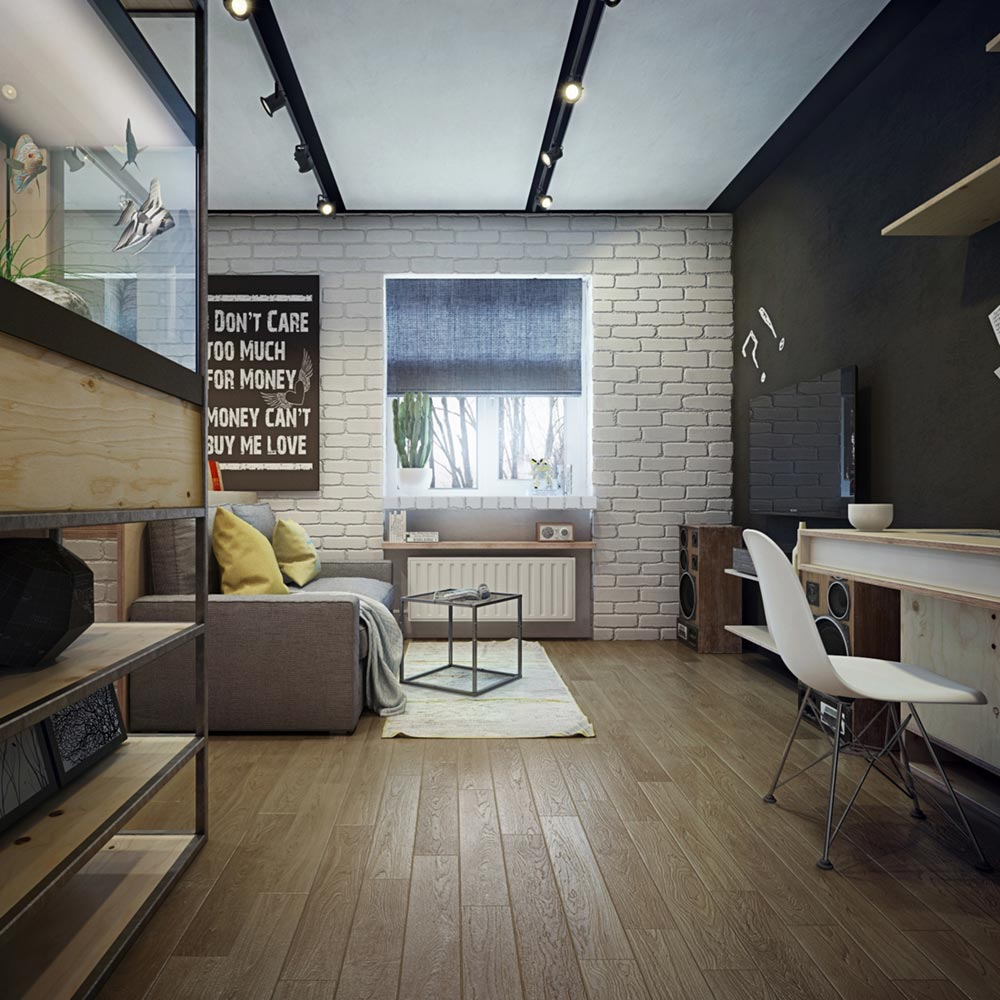 Bachelor Apartment Kitchen Design: Tiny One Bedroom Apartment Design With Work Space & Bathtub