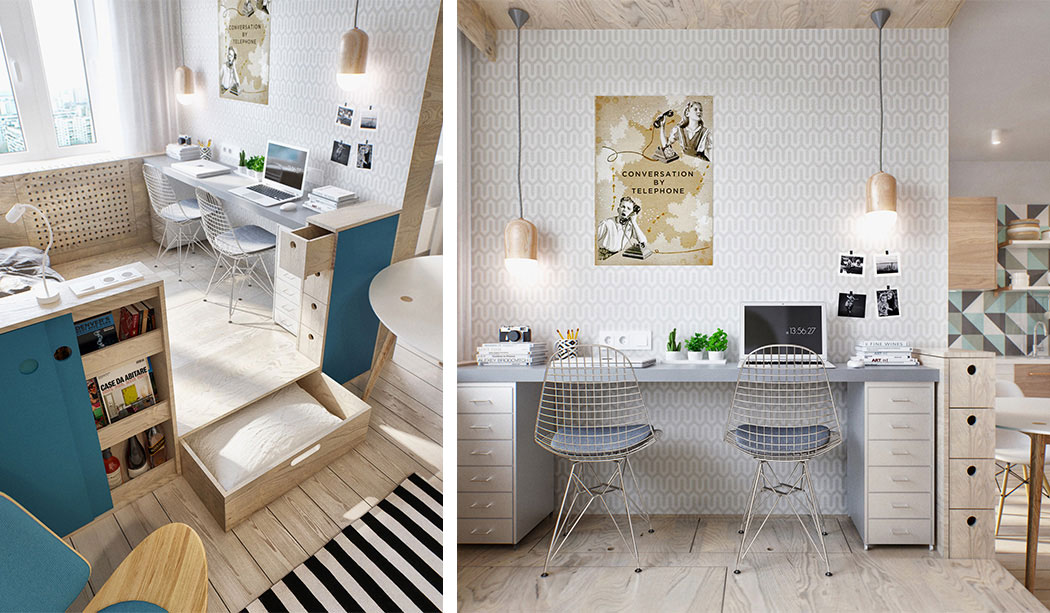 Tiny 40 sqm Apartment in Moscow Small Spaces