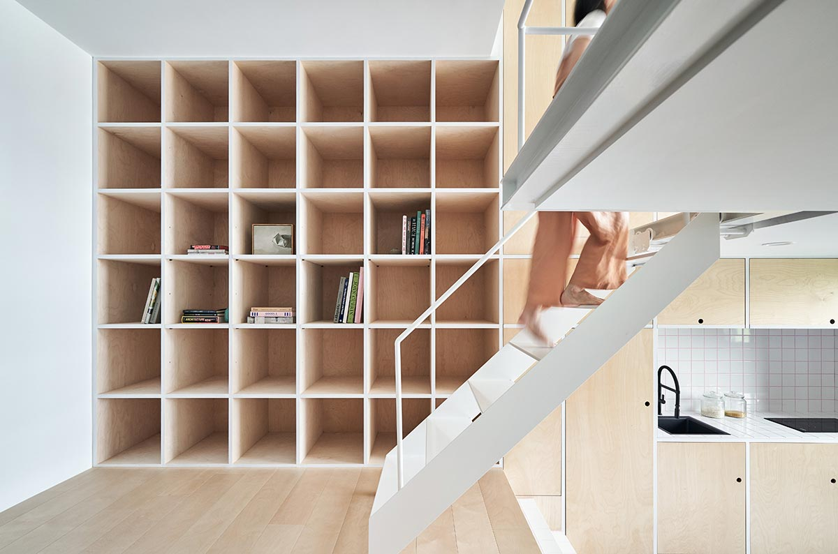 tiny apartment design rolling stairs - Tiny XS House Border