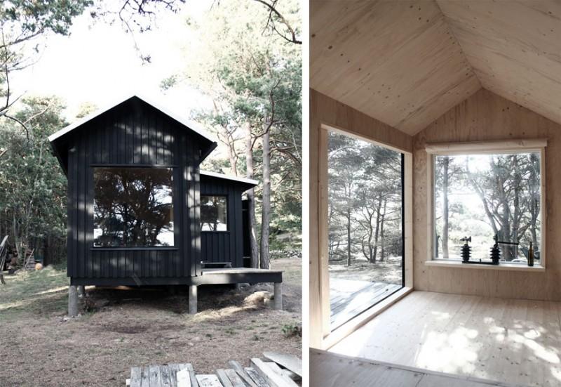 tiny prefab cabin ermitage5 800x551 - Ermitage Cabin: A tiny back-to-black retreat