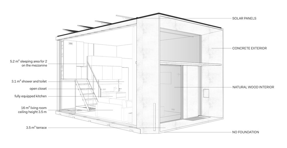 tiny prefab cabin plan koda - Koda Tiny Prefab Home
