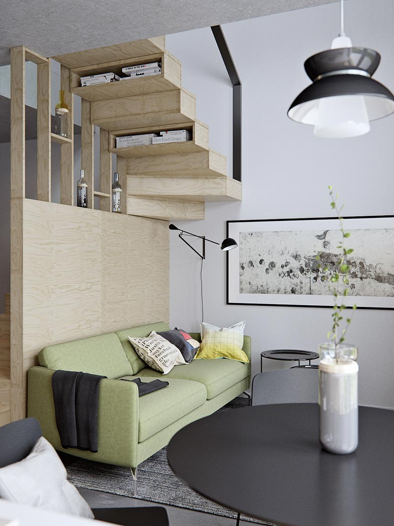 Amazingly tiny two-level studio apartment with a sleeping loft