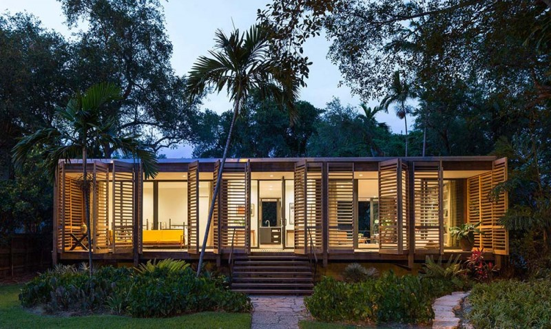 Single floor home design creates a tropical paradise in miami for Modern tropical house plans