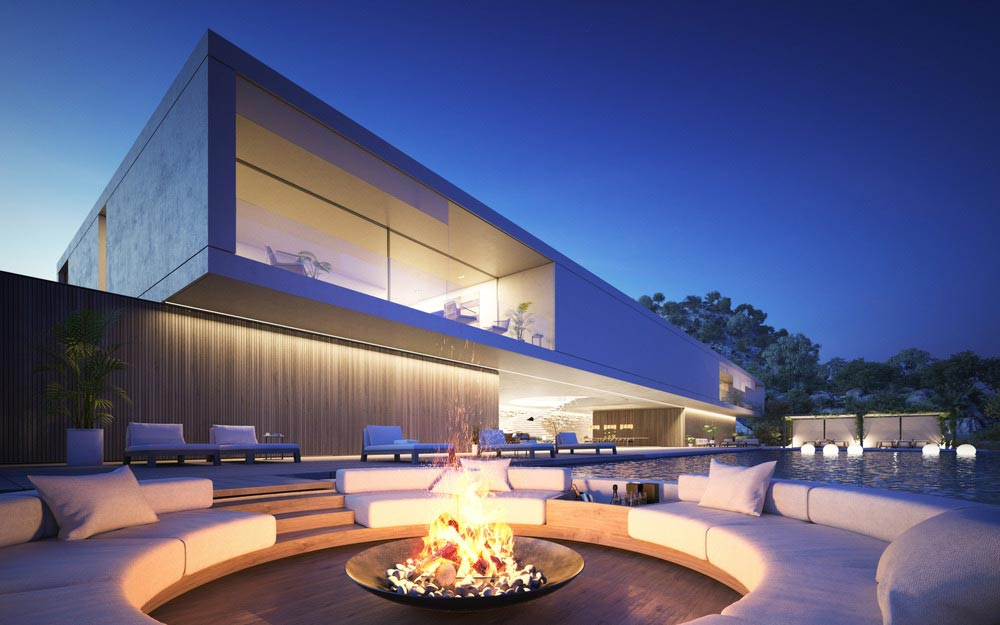 Luxury Outdoor Fireplace Entertaining Area