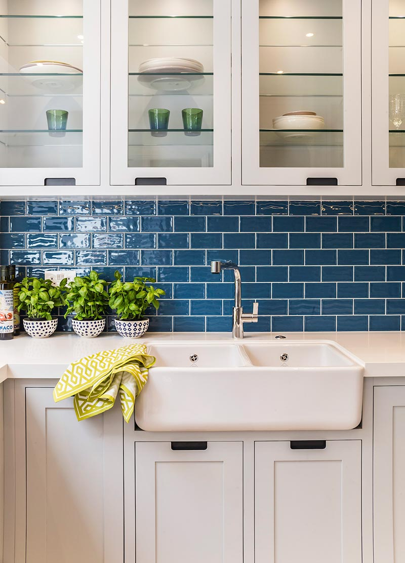 victorian townhouse kitchen blue tile lli - Highgate Victorian Townhouse