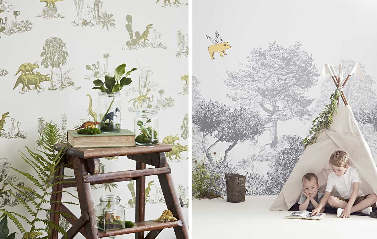 Wallpaper dinosaur trees design