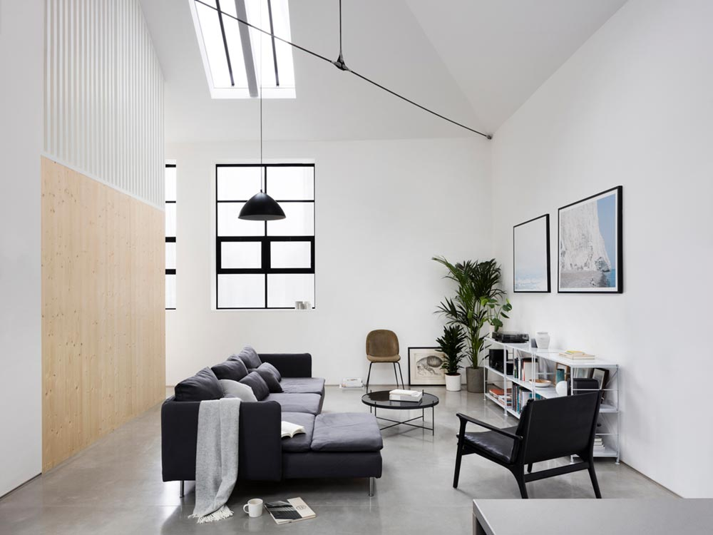warehouse home lounge design - Defoe Road Warehouse Conversion