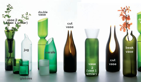 wine bottles transglass2 - Transglass Recycled Wine Bottles